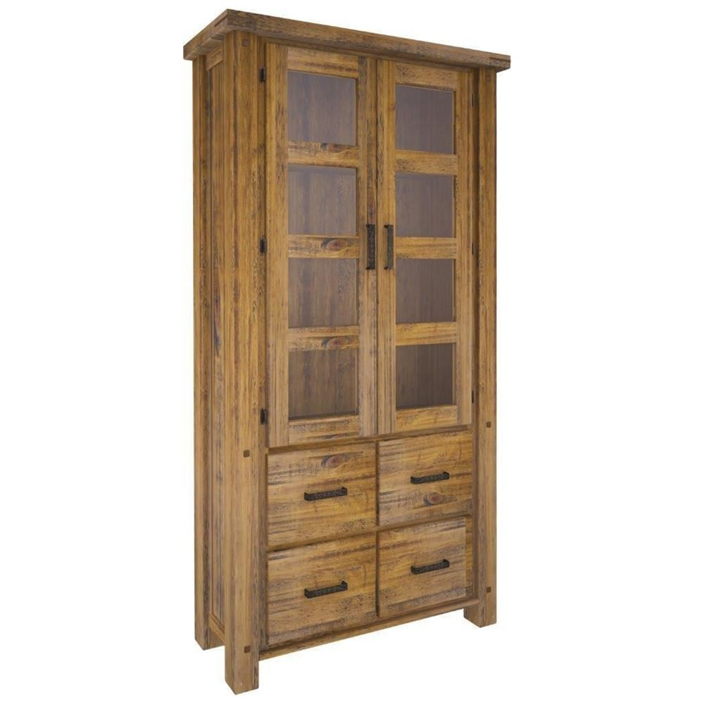 Serafin Rustic Pine Timber 2 Door 4 Drawer Display Cabinet