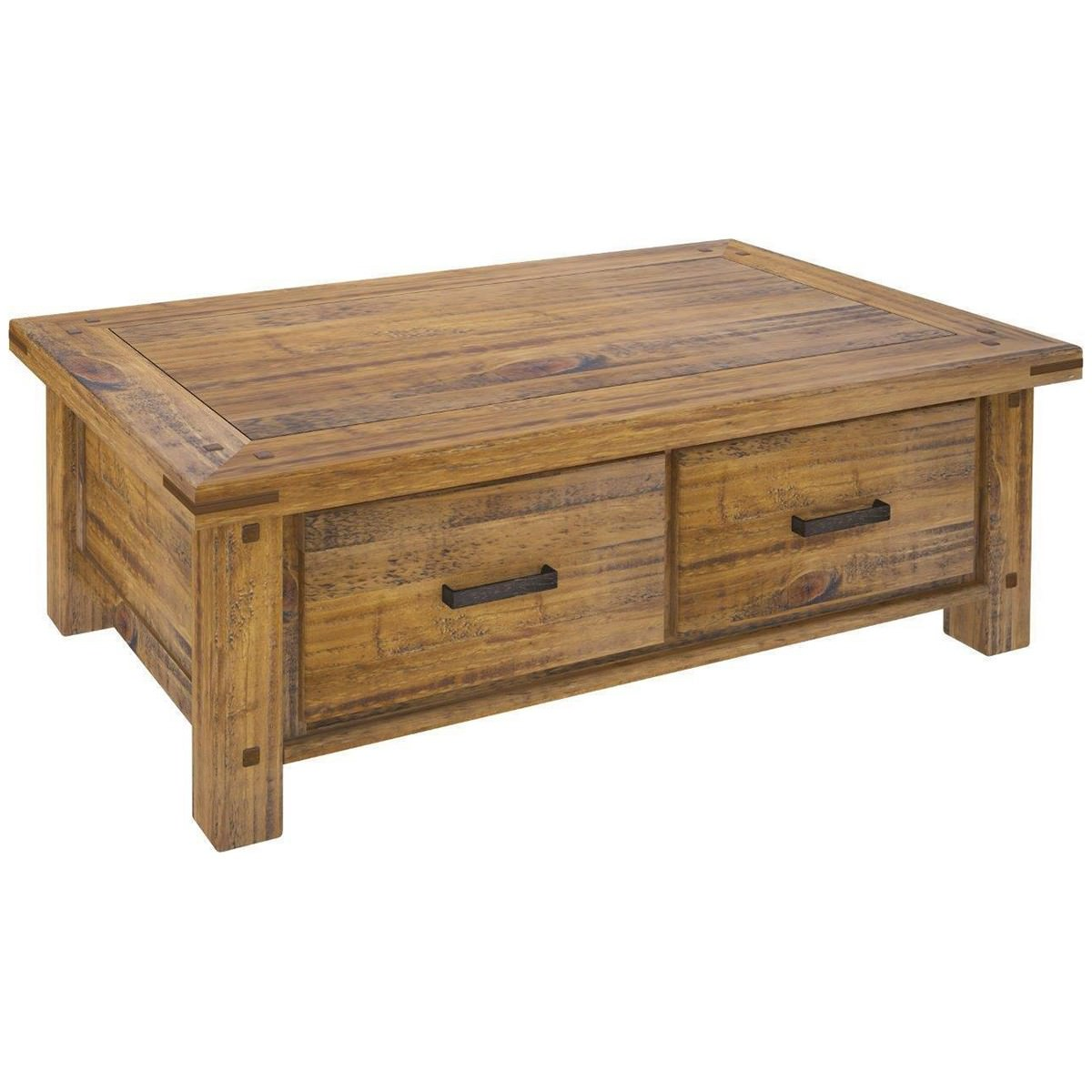 Serafin Rustic Pine Timber 4 Drawer Coffee Table, 140cm