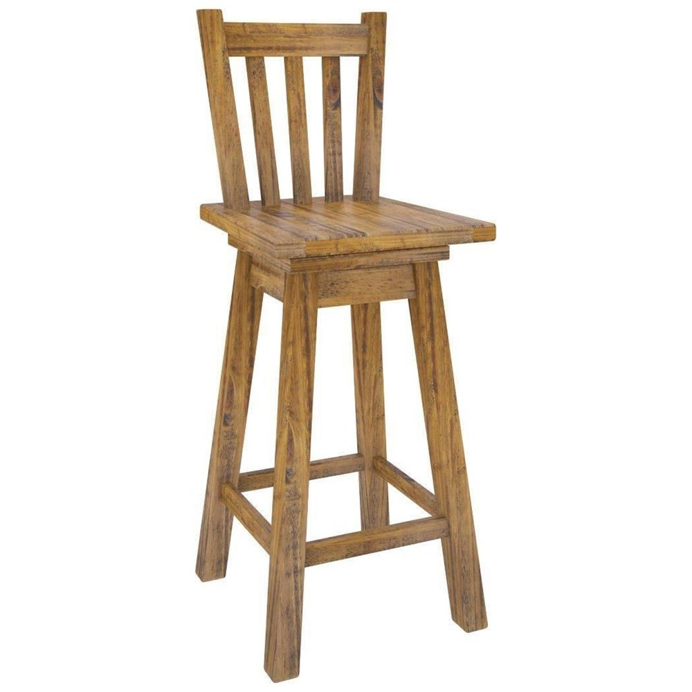 Serafin Rustic Pine Timber Bar Chair