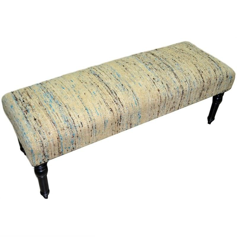 Kadhi Handmade Wooden Bench with Silk and Cotton Seat - Beige