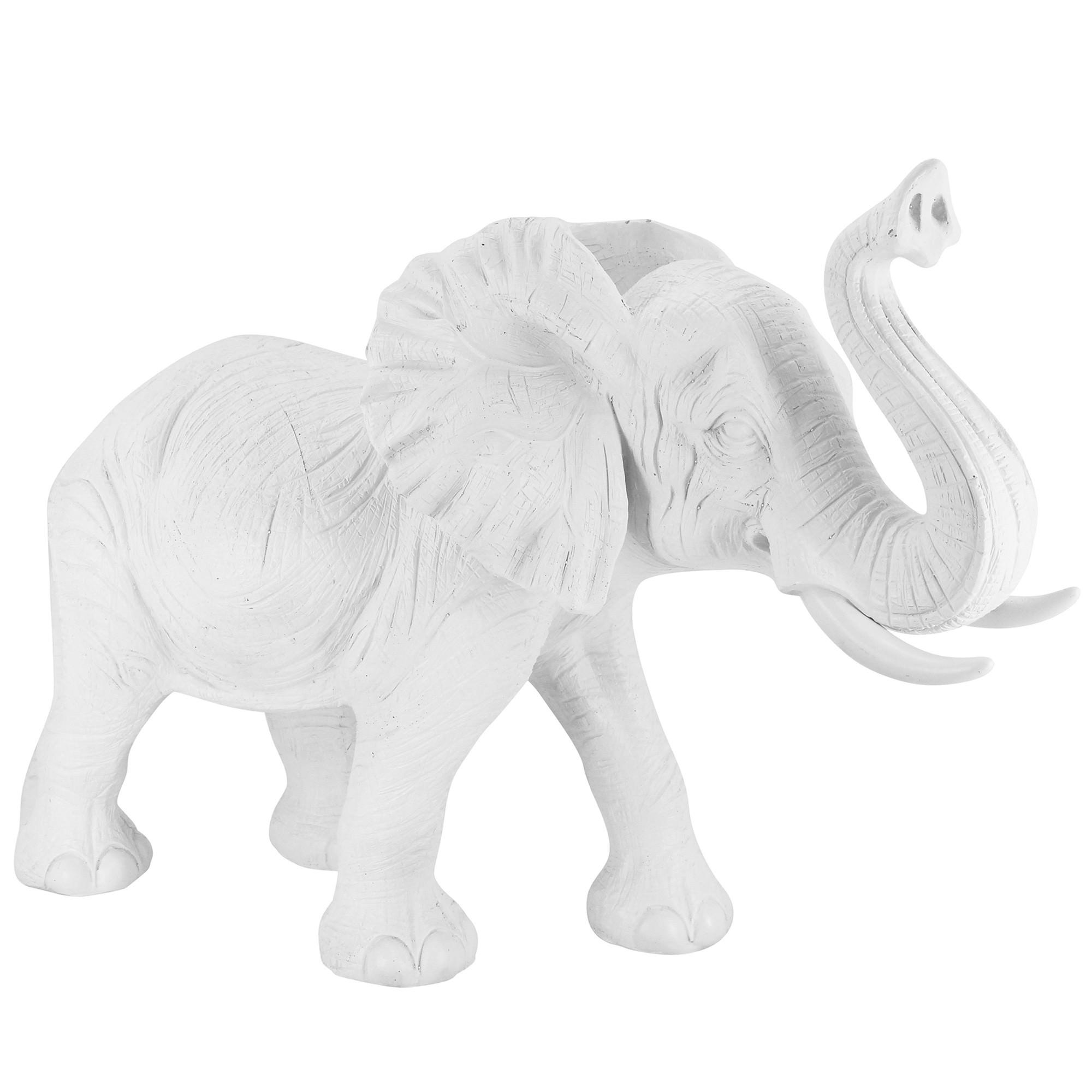 Abbi Elephant Sculpture, White
