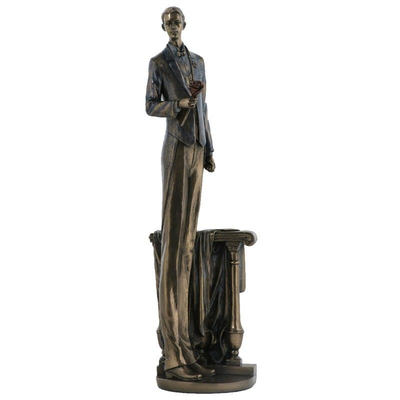 Cast Bronze Figurine of Waiting in Love, Male