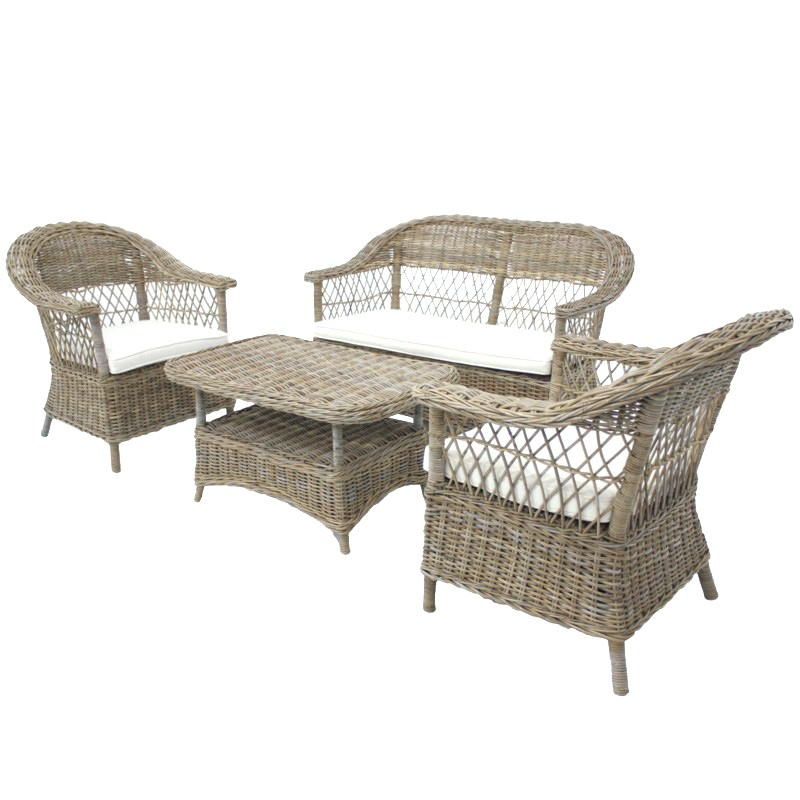 Marsaille 4 Piece Kubu Wicker Lounge Set