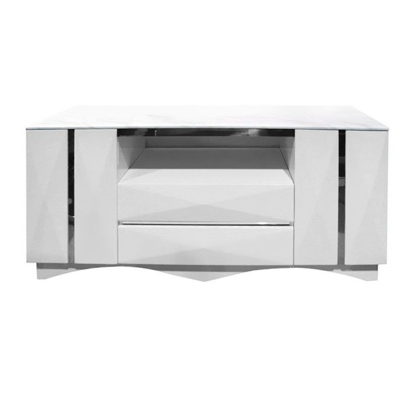 Hades Granite Top 2 Door 2 Drawer 150cm Buffet Table   White
