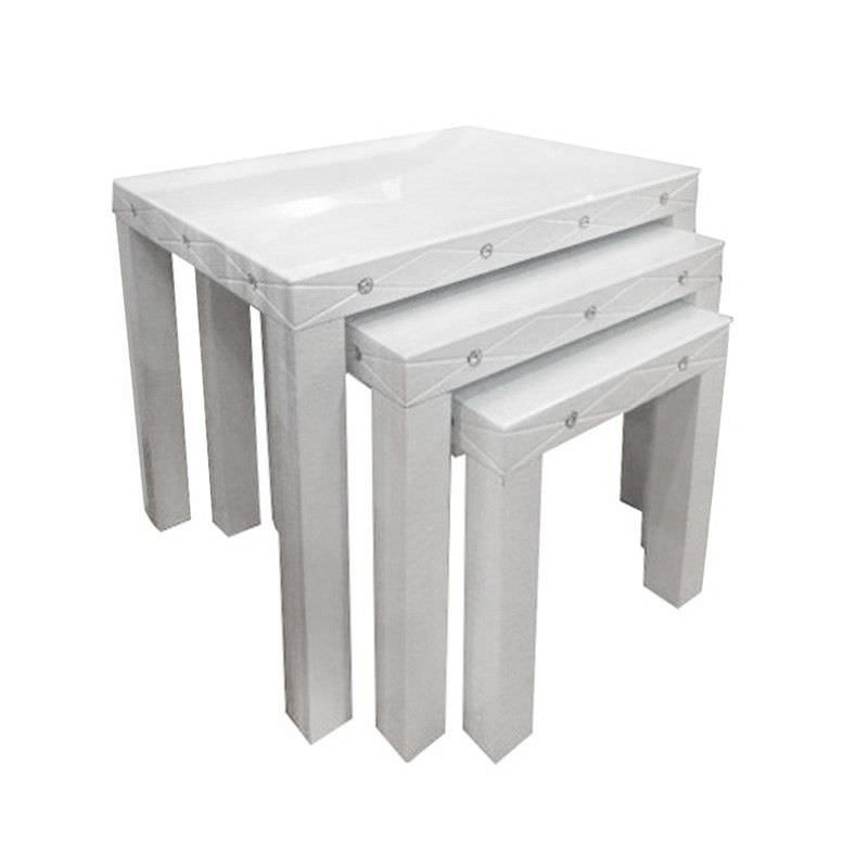 Slaters 3 Piece Glass Top Nested Table Set - White