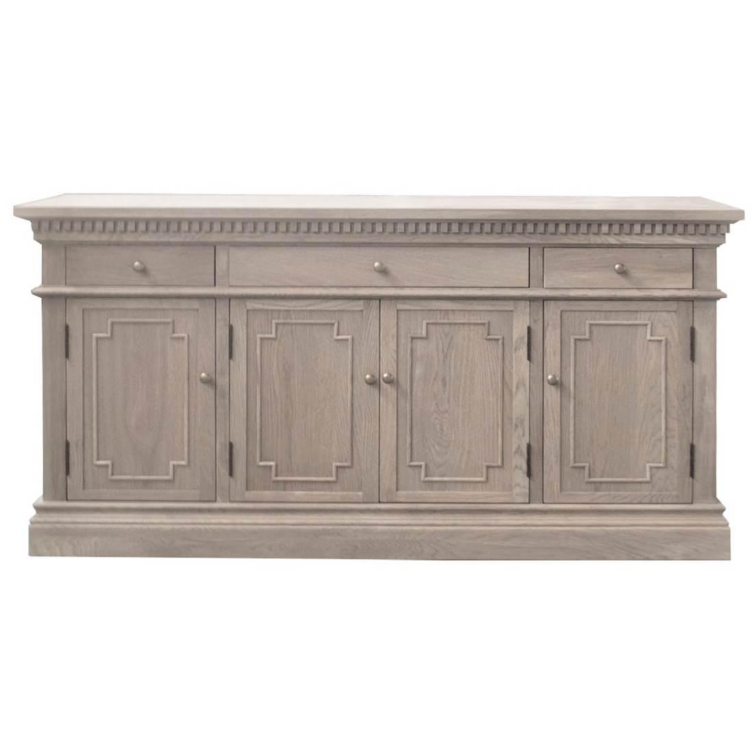 St. James Oak Timber 4 Door 3 Drawer Sideboard, 165cm, Weathered Oak