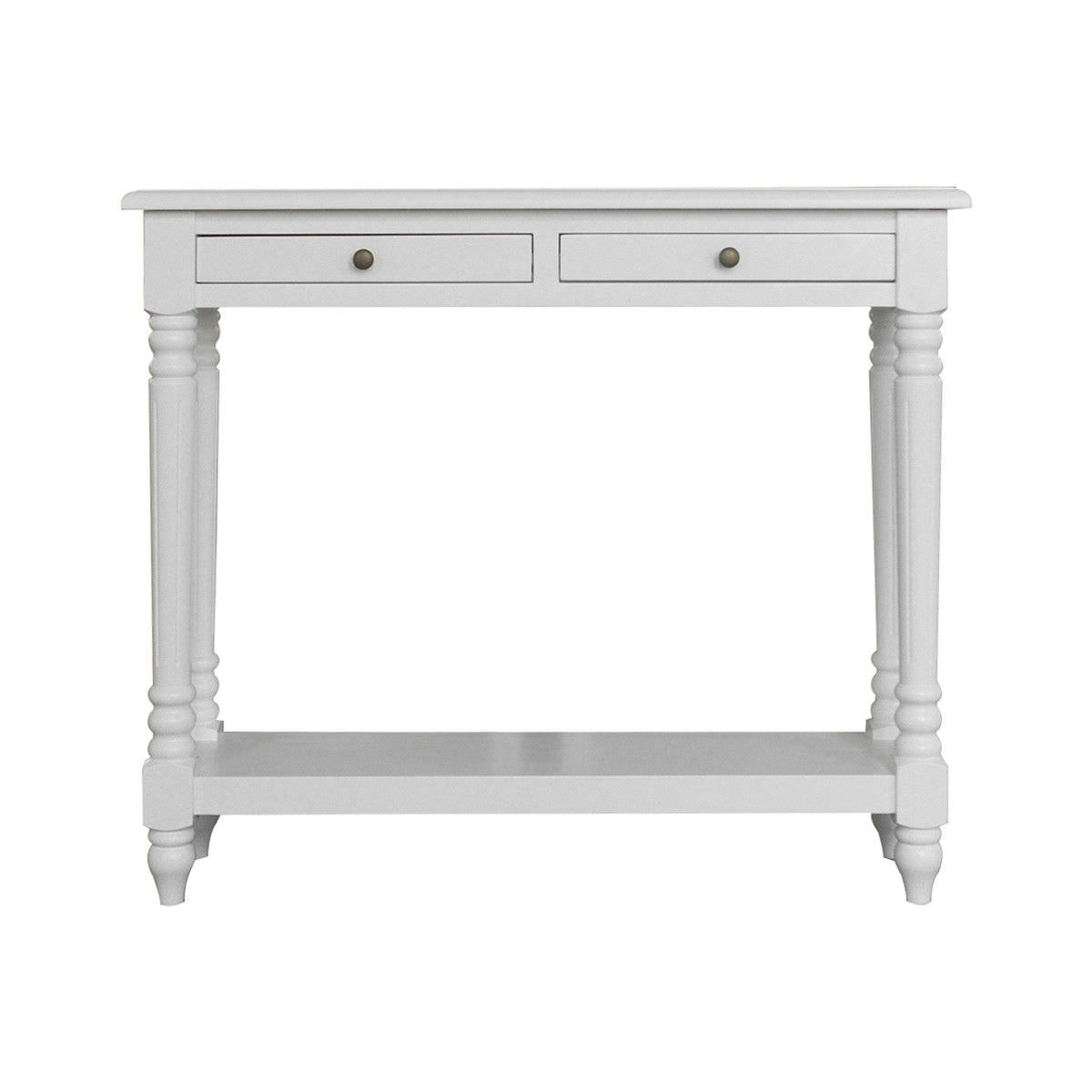 Curtin Oak Timber Console Table, 100cm, Matt White