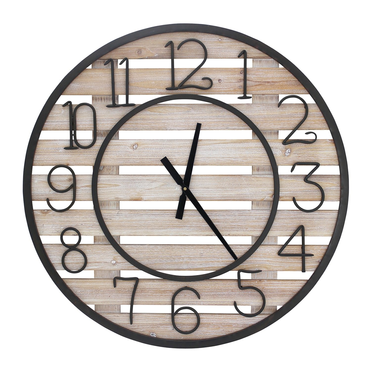 Ida Wood & Metal Round Wall Clock, 78cm