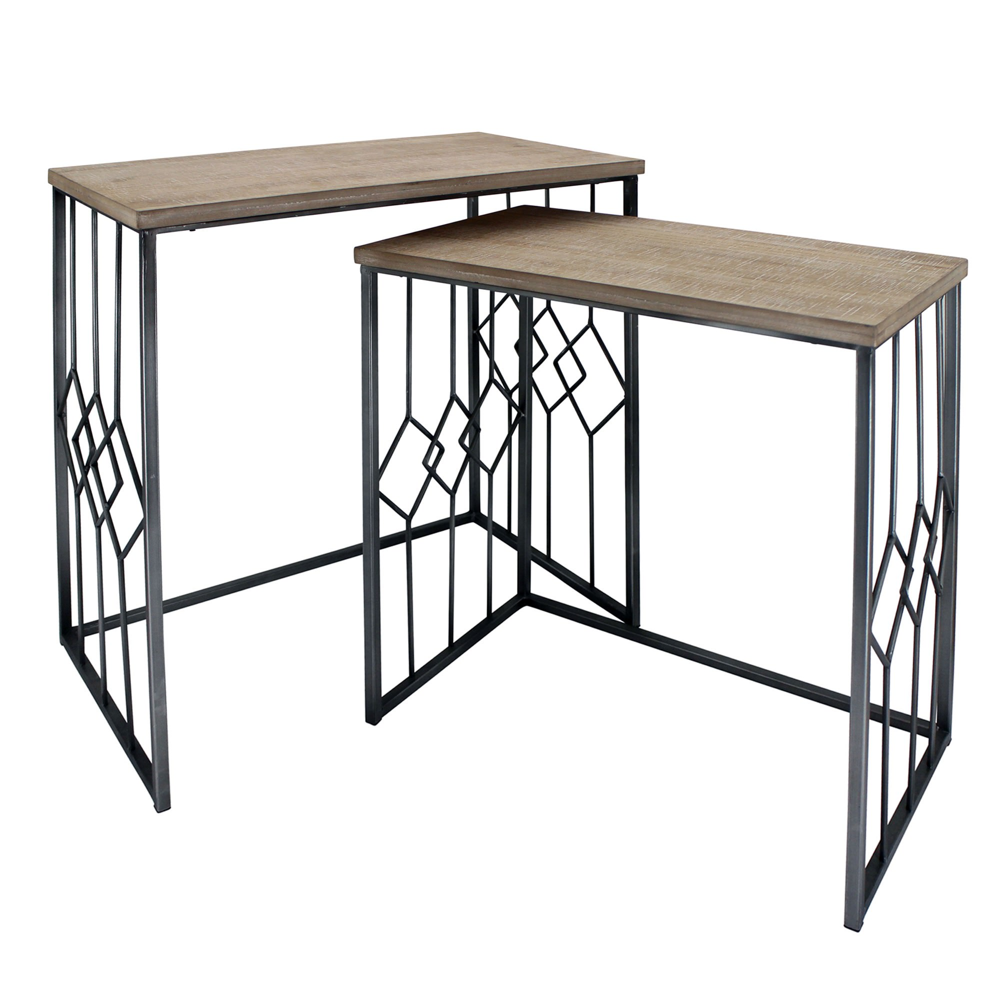 Eros 2 Piece Wood Topped Metal Nesting Table Set