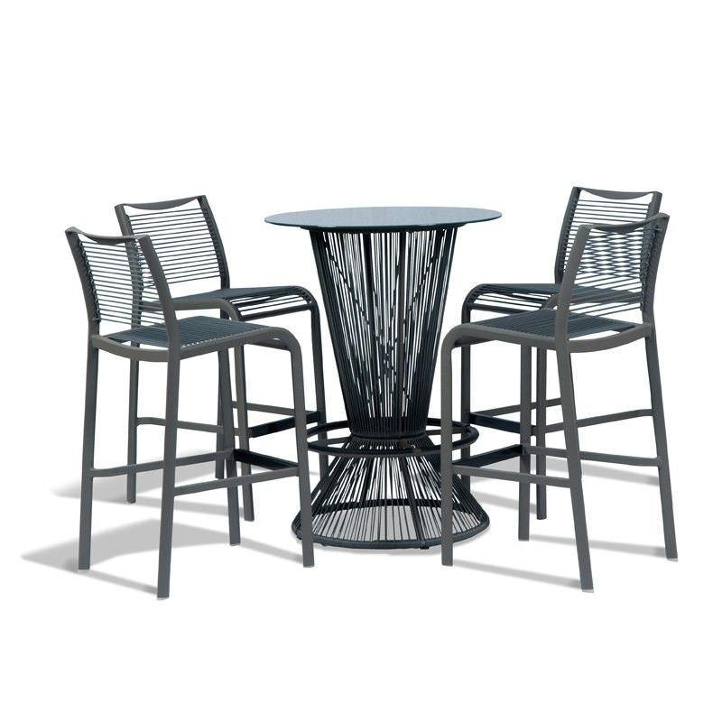Wanika 5 Piece Commercial Grade Glass Top Bar Table Set, Grey