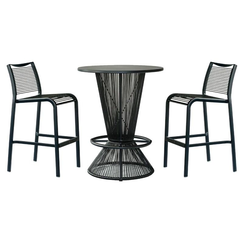 Wanika 5 Piece Commercial Grade Indoor/Outdoor Round Aluminium Top Bar Table Set, Black