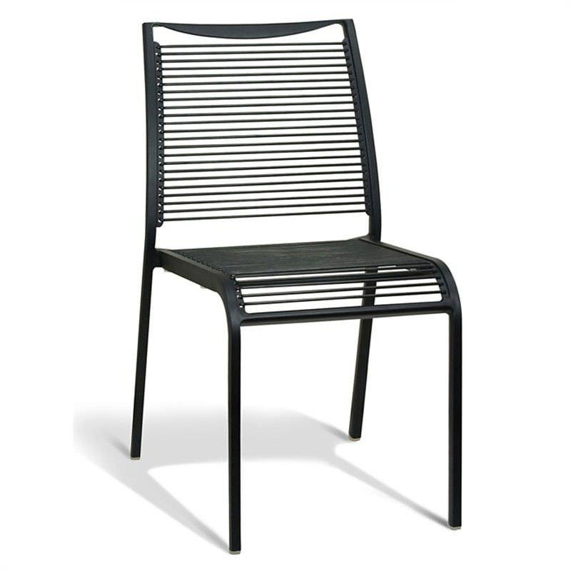 Waikiki Commercial Grade Aluminum Indoor/Outdoor Dining Chair, Black