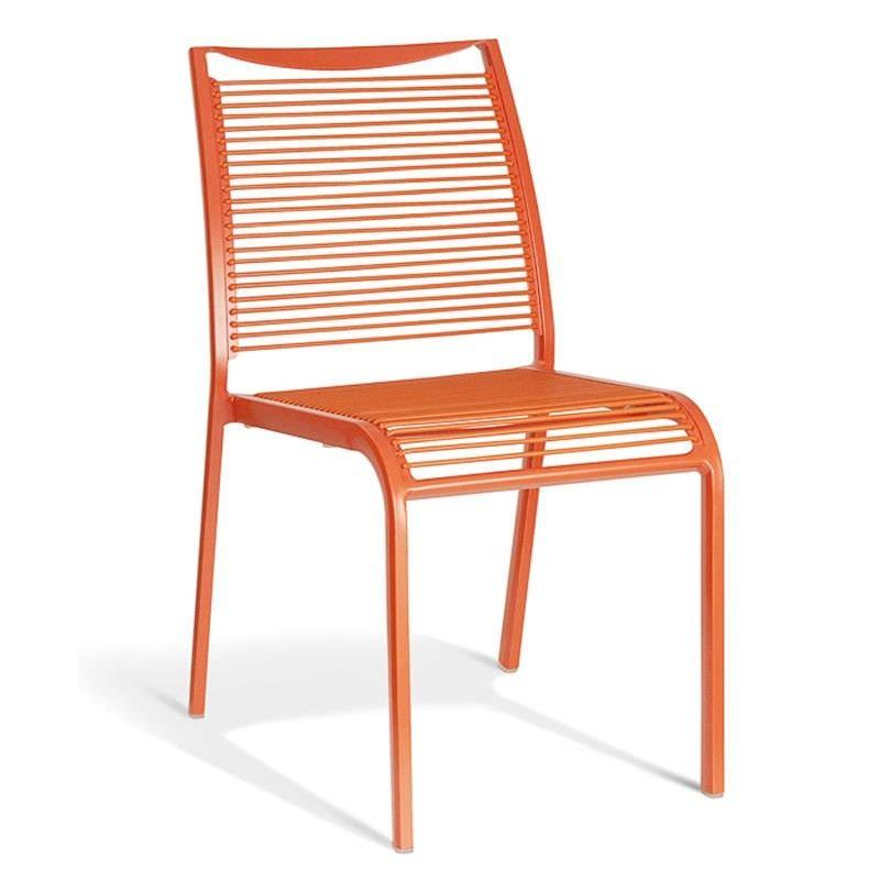 Wanika Commercial Grade Aluminum Indoor/Outdoor Dining Chair, Orange