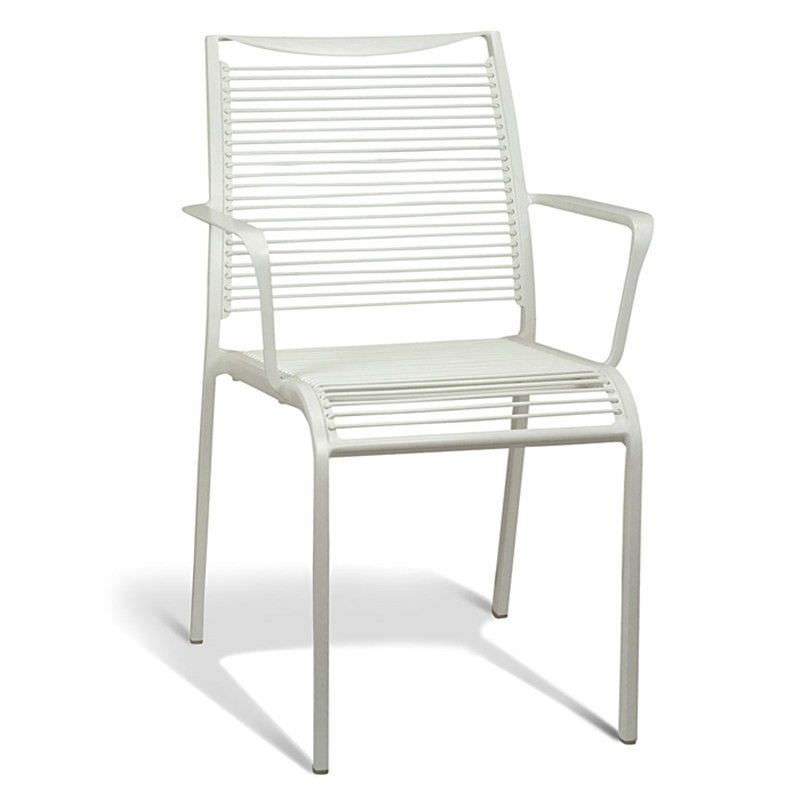 Waikiki Commercial Grade Aluminum Indoor/Outdoor Dining Armchair, White