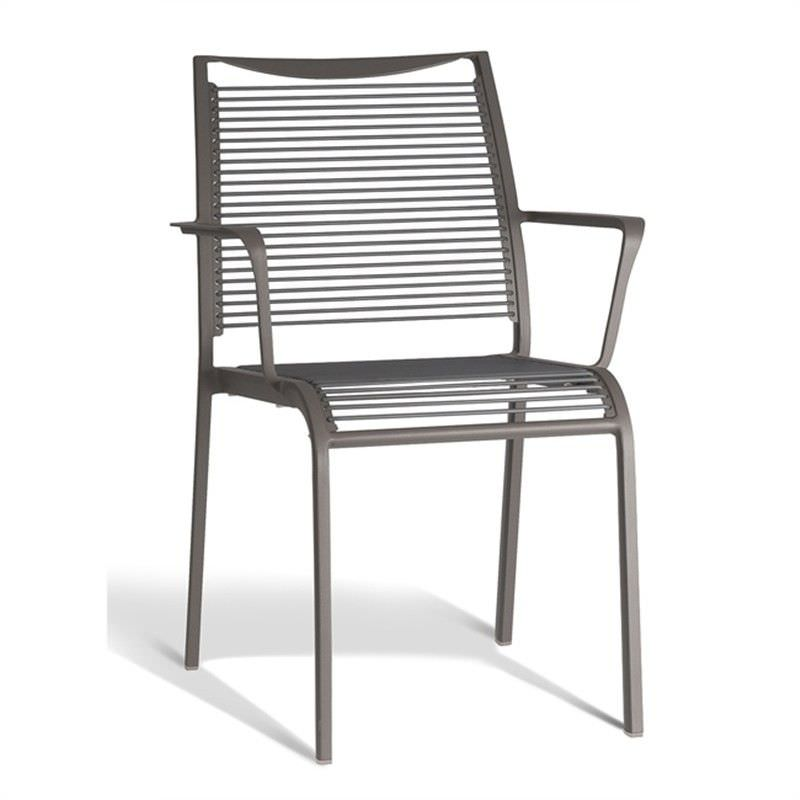 Wanika Commercial Grade Aluminum Indoor/Outdoor Dining Armchair, Grey