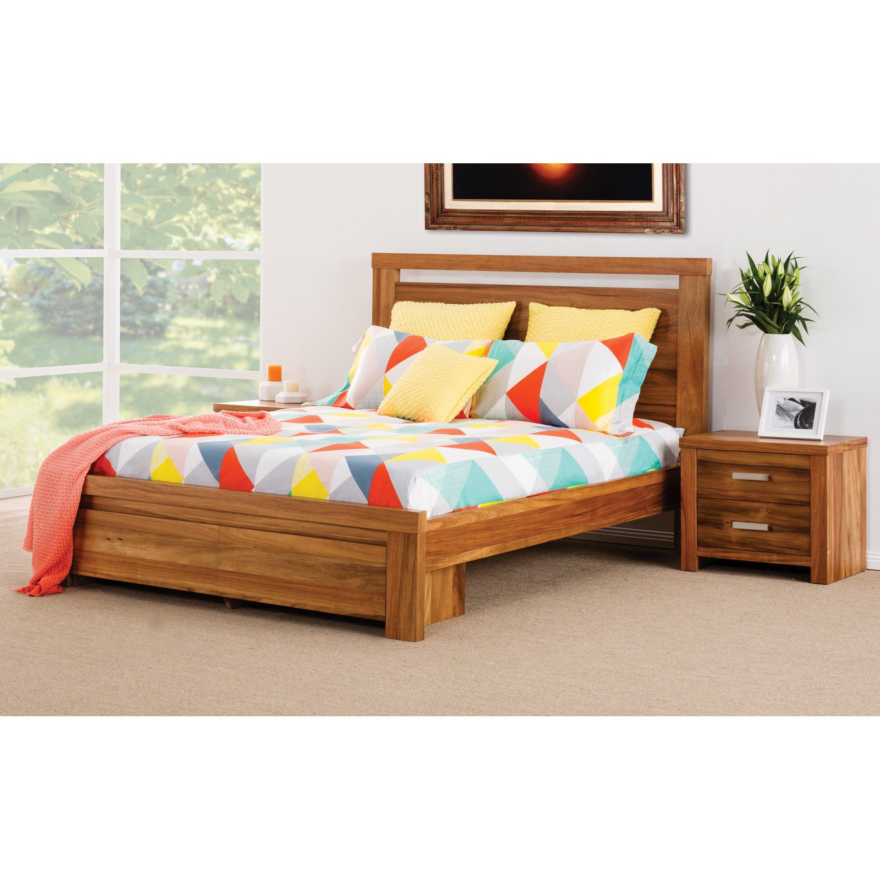 Waratah Wooden Bed with End Drawers, Queen
