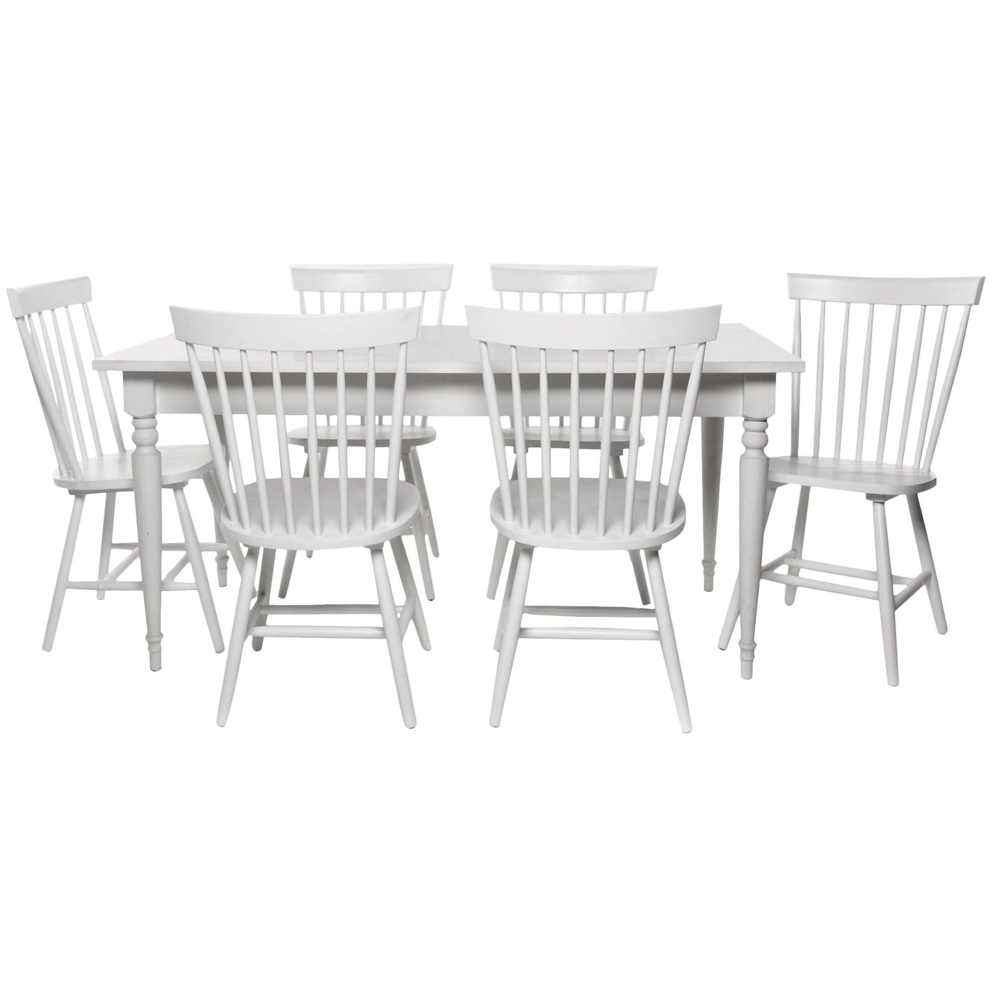 Washington 7 Piece Rubber Wood Dining Table Set, 200cm