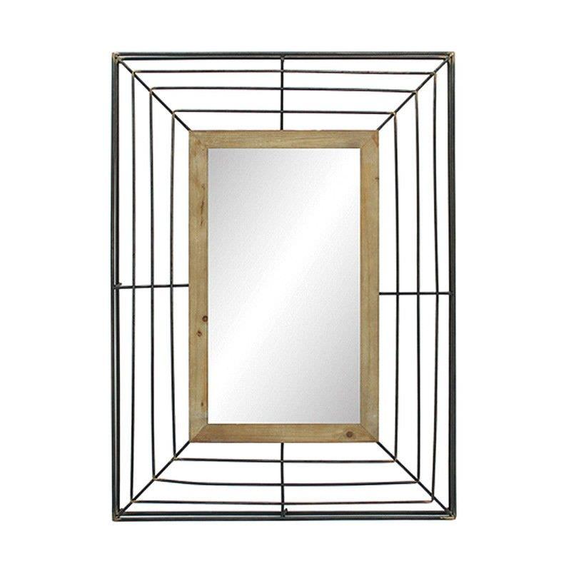 Tonkin Industrial Metal Wire Frame Wall Mirror, 96cm