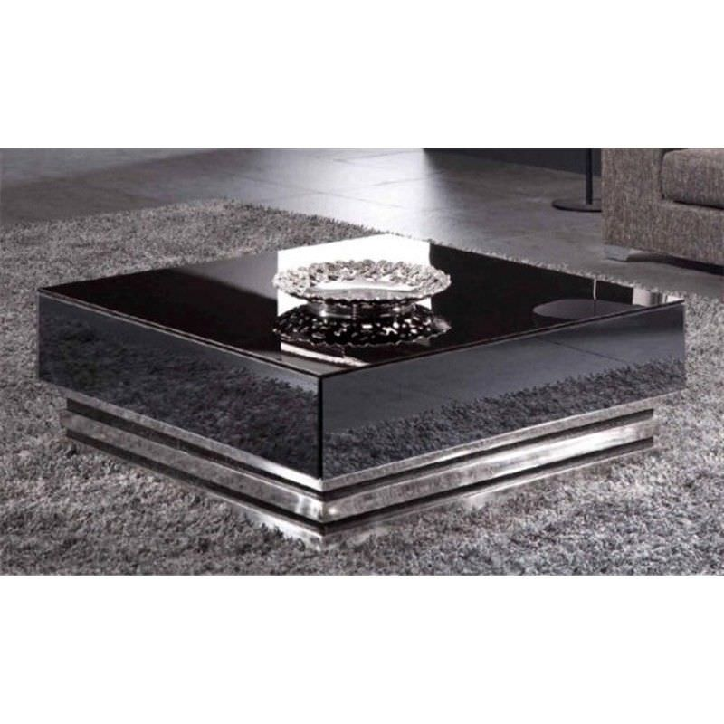 WD100 Glass & Stainless Steel 2 Drawer 100cm Square Coffee Table - Black