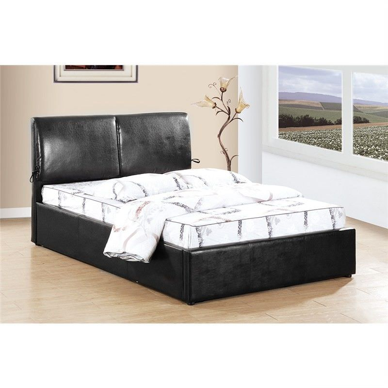 Mordo PU Leather Bed, Queen, Black