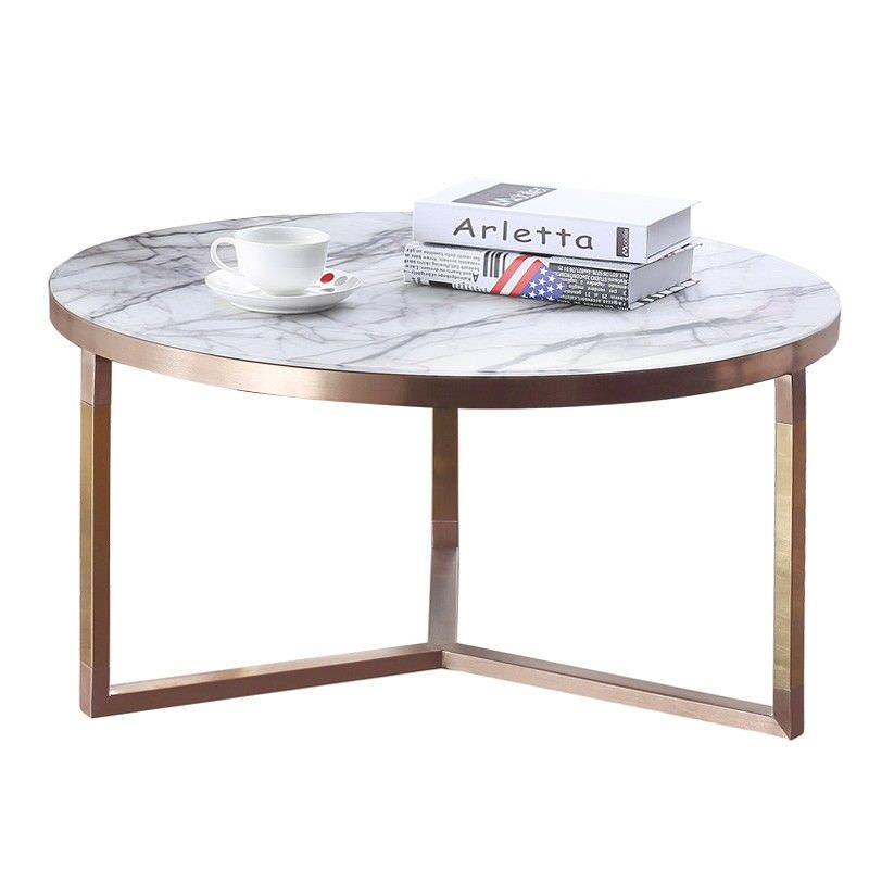Lagina Marble Top Metal Round Coffee Table, 80cm