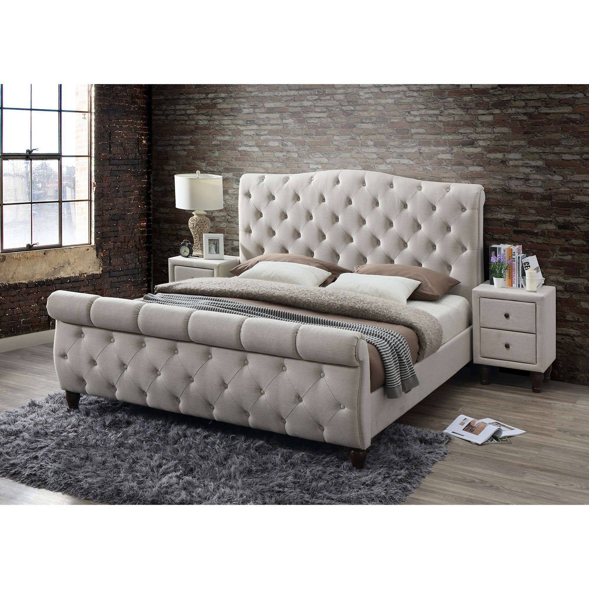 Curtis Tufted Fabric Sleigh Bed, King