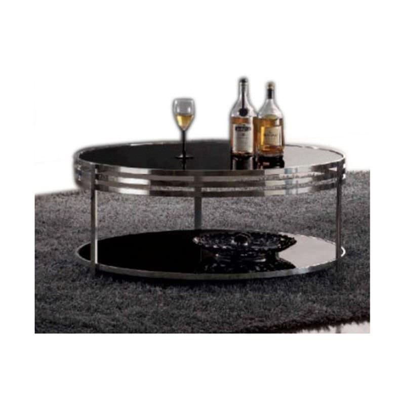 WD-101 Coffee Table in Black Stainless Steel And Glass