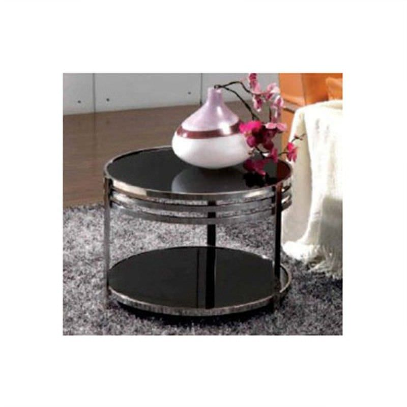 WD-101 Lamp Table in Black Stainless Steel And Glass