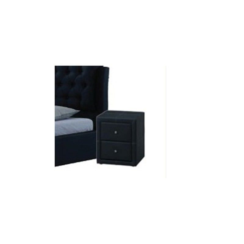 WD-12 Bedside Table in Black Faux Leather