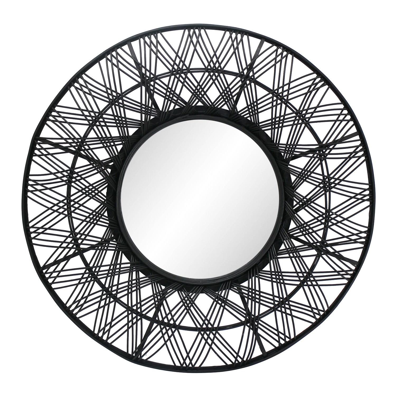 Uma Bamboo Rattan Framed Round Wall Mirror, 80cm, Black