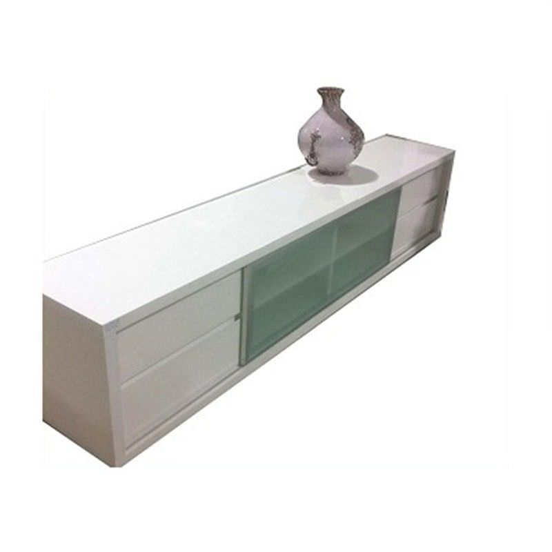 WD-205 210cm TV Unit in Gloss White MDF