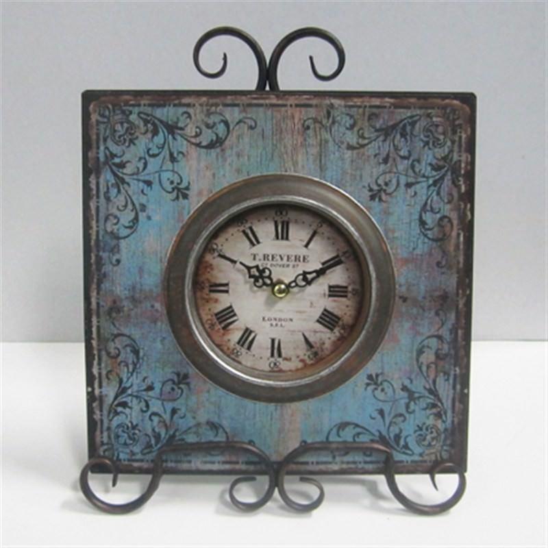Metal clock w.stand 22x28x6 cm