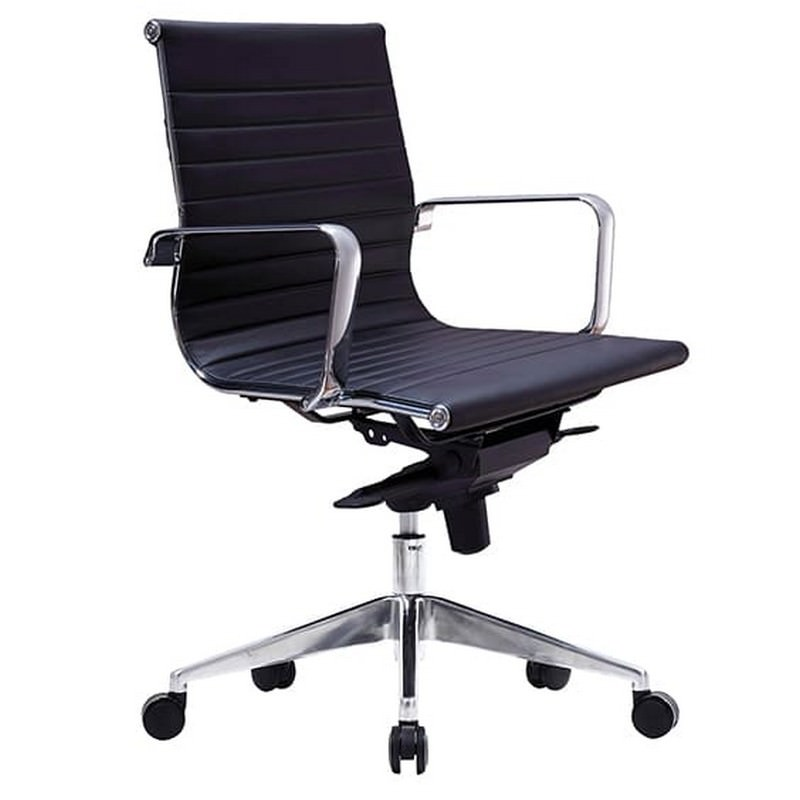 Web PU Leather Executive Office Chair, Low Back, Black