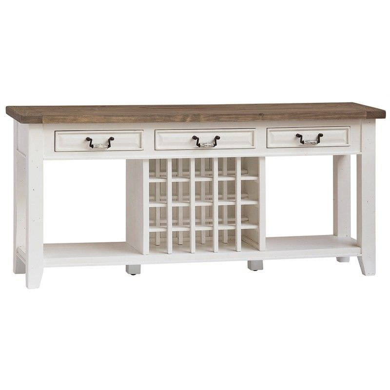 White Haven Solid Pine Timber 3 Drawer 180cm Sideboard with Wine Rack