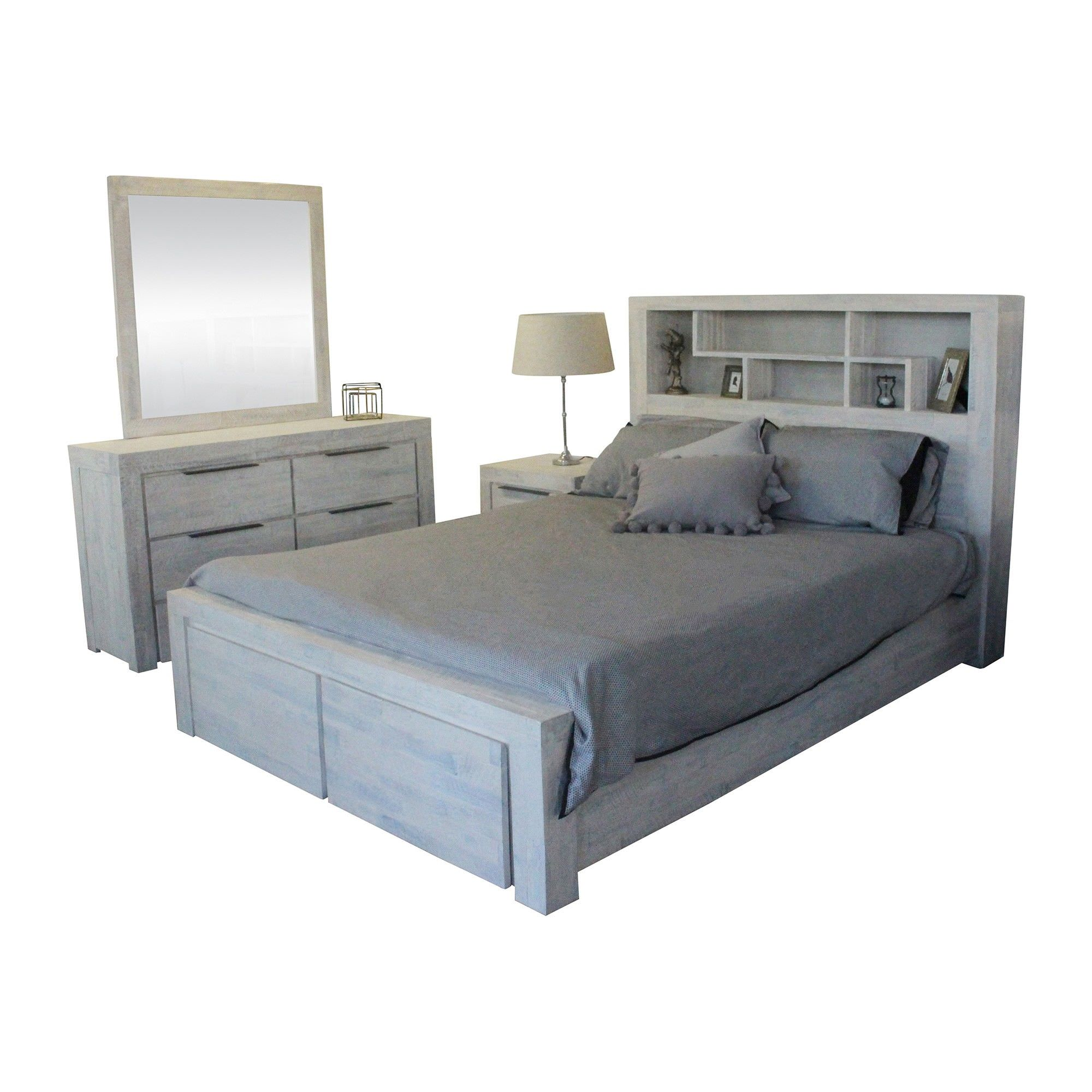 Romford 4 Piece Acacia Timber Bedroom Dresser Suite with Bookcase Bed, Queen