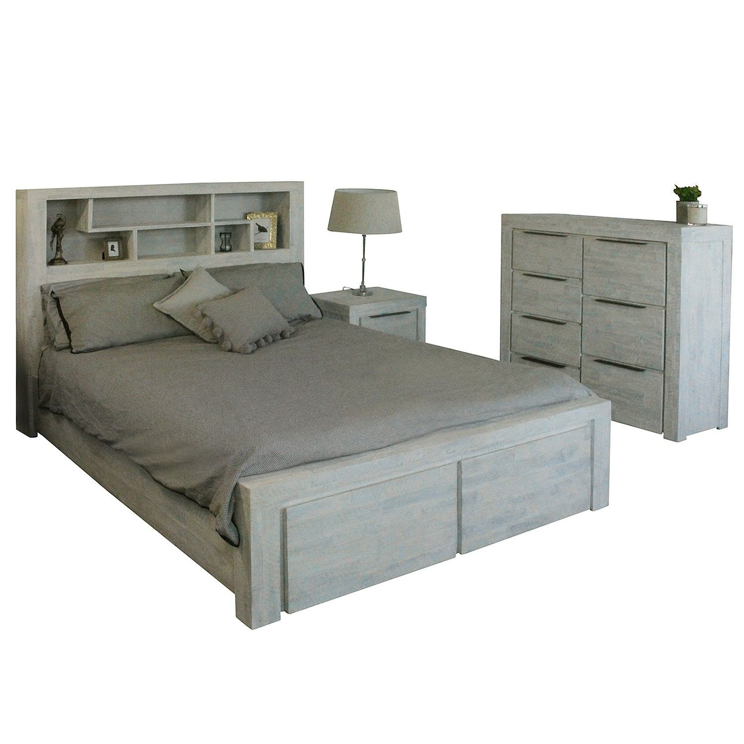 Romford 4 Piece Acacia Timber Bedroom Tallboy Suite with Bookcase Bed, Queen