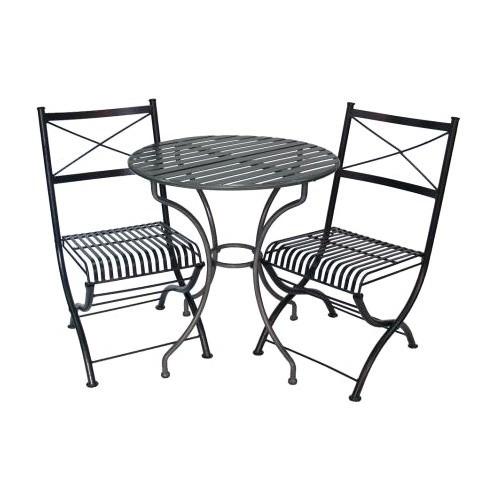 Rye 3 Piece Metal Outdoor Round Garden Table Set