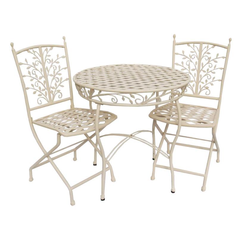 Filigree 3 Piece Iron Round Garden Table Set, 70cm