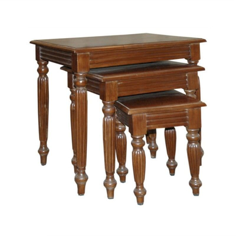 Set of 3 Solid Mahogany Timber Flute Leg Nesting Tables