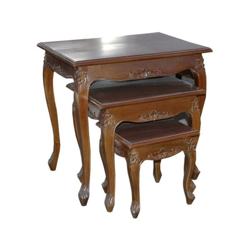 Queen Anne Set of 3 Solid Mahogany Timber Nesting Tables