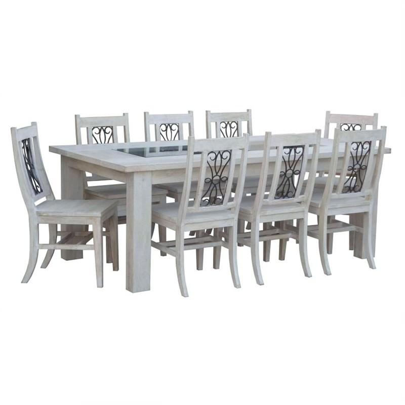 Valencia Dining Table 240cm 11 Piece Set Mango Wood in Whitewash