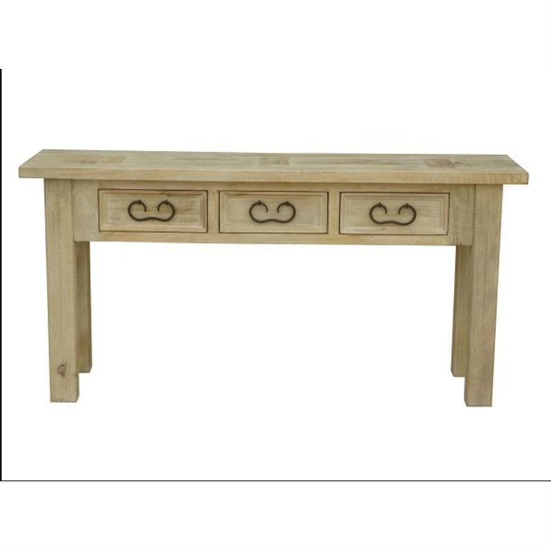 Valencia Hall Table 160cm with 3 Drawers Mango Wood in Whitewash