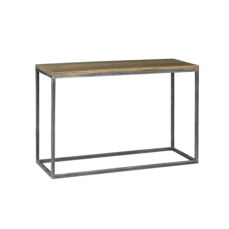 Byrne Solid Mango Wood Timber & Metal Console Table