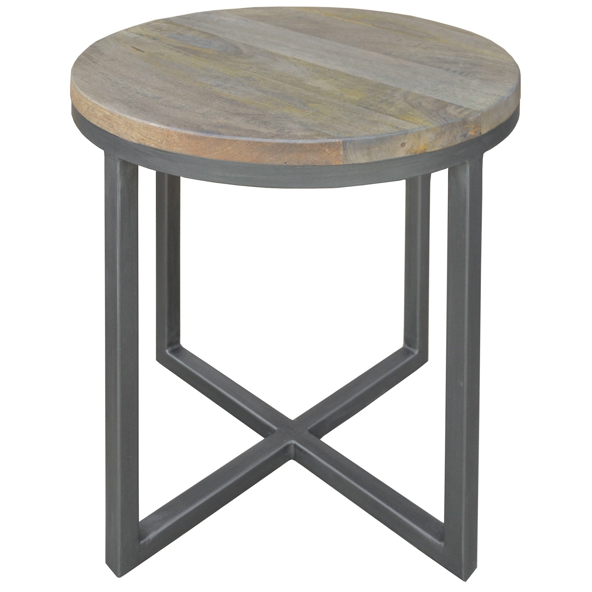 Byrne Mango Wood & Metal Round Side Table