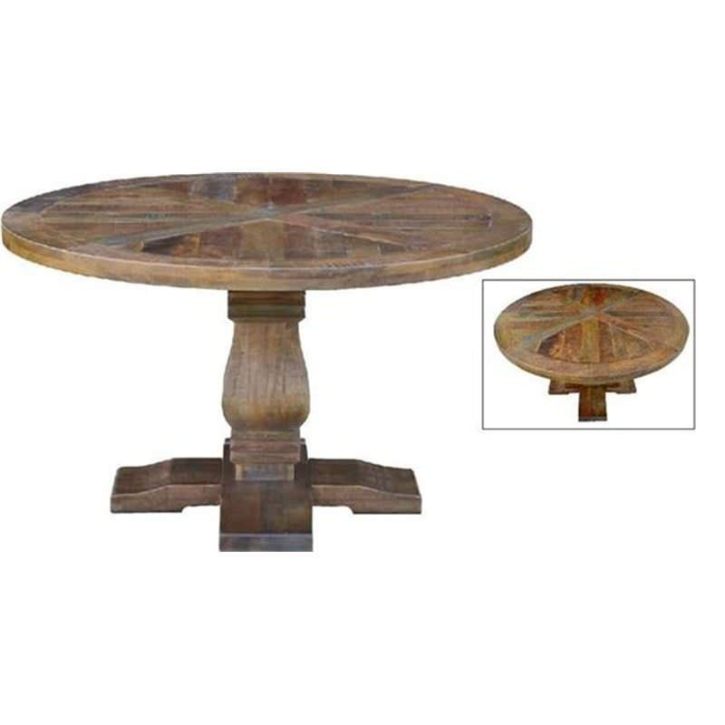 Grenaa Solid Mango Wood Timber Parquetry 135cm Round Dining Table