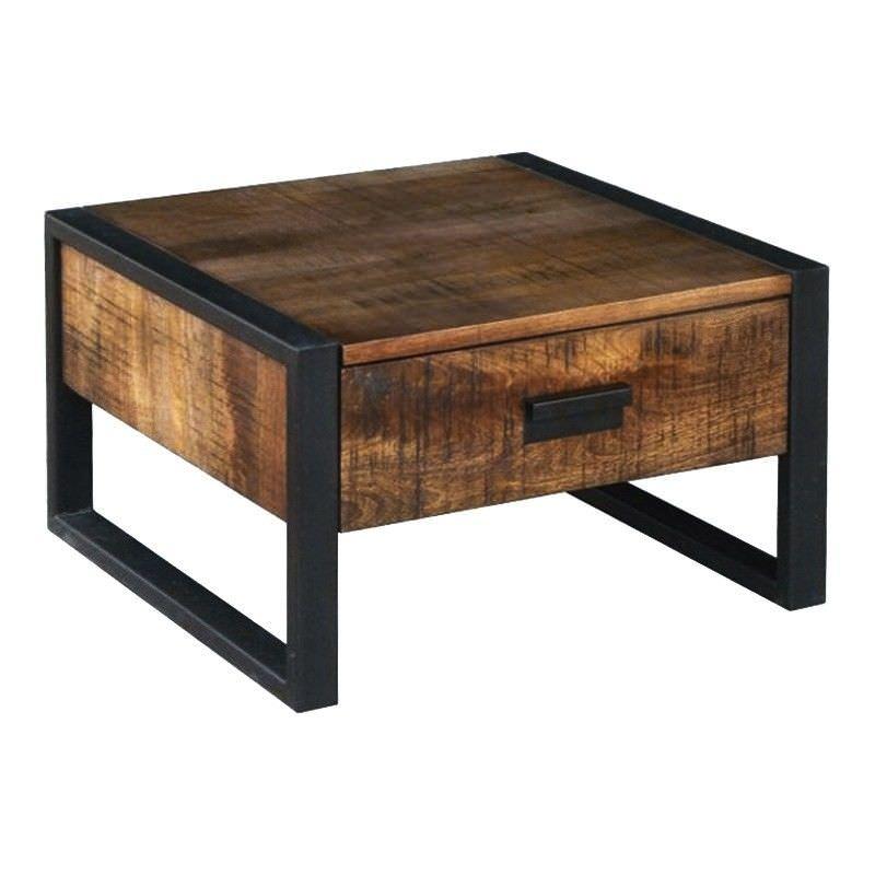 Loft Mango Wood Timber & Metal Lamp Table