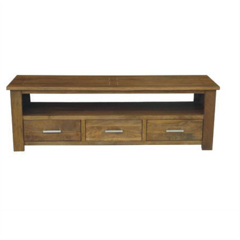 Palermo TV Unit with 3 Drawers 170cm Mango Wood in Oak