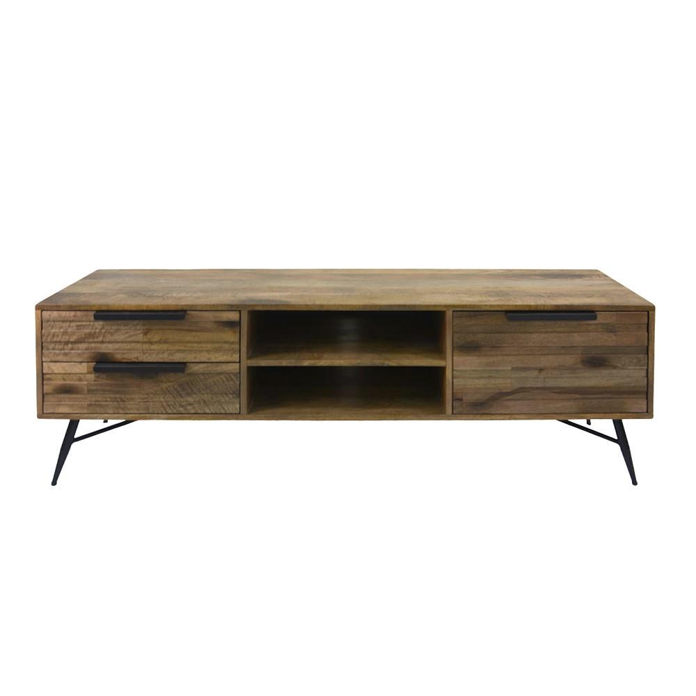 Watson Mango Wood & Metal 1 Door 2 Drawer TV Unit, 160cm