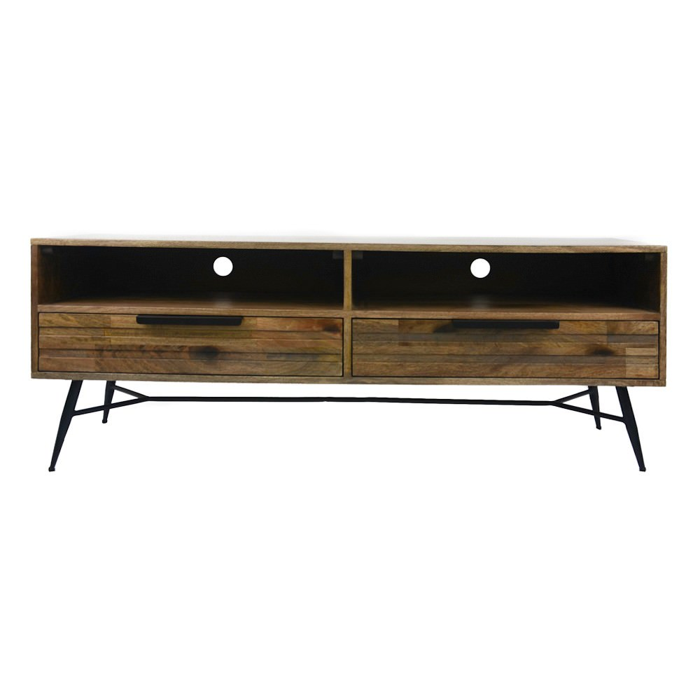 Watson Mango Wood & Metal 2 Drawer TV Unit, 140cm