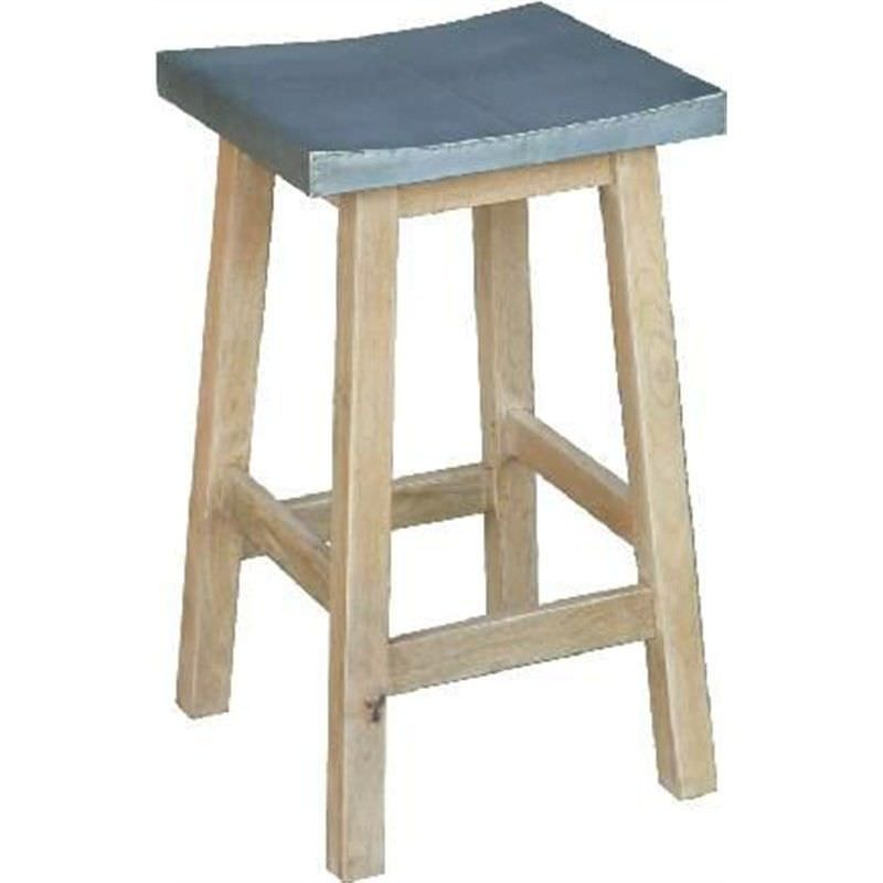 Korsor Solid Mango Wood Timber Counter Stool with Galvanised Iron Sheet Top, Zinc/Natural